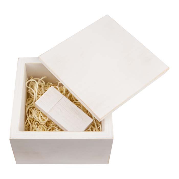 Wood USB Drive-with Box-White
